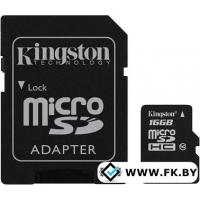 Карта памяти Kingston microSDHC (class 10) 16 Гб (SDC10/16GB)