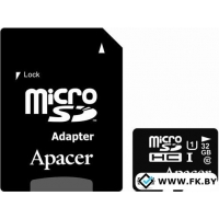 Карта памяти Apacer microSDHC UHS-I (Class 10) 32GB + адаптер (AP32GMCSH10U1-R)