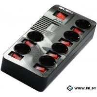 Сетевой фильтр SVEN Fort Pro 6 розеток, черный, 5 м