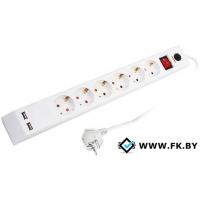 Сетевой фильтр Supra 6 розеток, 1.8 м, белый (SF-6-ESC-USB-1.8M)