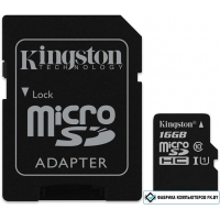 Карта памяти Kingston microSDHC UHS-I (Class 10) 16GB + адаптер [SDC10G2/16GB]