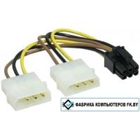 Переходник Кабель питания 2x MOLEX female — 6 pin PCIe