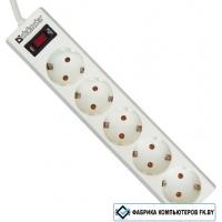 Сетевой фильтр Defender ES 5 розеток, белый, 1.8 м