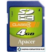 Карта памяти Apacer SDHC (Class 4) 4GB (AP4GSDHC4-R)