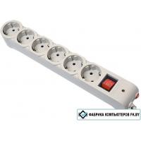 Сетевой фильтр Defender 6 розеток, серый, 1.8 м (DFS 601)