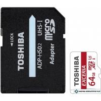 Карта памяти Toshiba EXCERIA microSDXC 64GB + адаптер [THN-M302R0640EA]