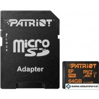 Карта памяти Patriot microSDXC (Class 10) 64GB + адаптер [PEF64GEPMCSXC10]