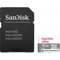 Карта памяти SanDisk Ultra microSDHC 16GB UHS-I/U1 + адаптер [SDSQUNB-016G-GN3MA]