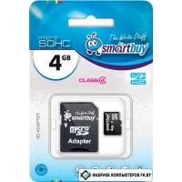 Карта памяти Smart Buy microSDHC (Class 4) 4 Гб + SD адаптер (SB4GBSDCL4-01)