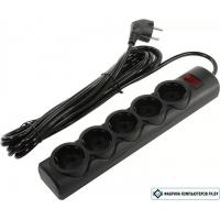 Сетевой фильтр Defender 5 розеток, 5 м, черный (RFS 50)
