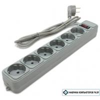 Сетевой фильтр Gembird 6 розеток, серый, 5 м (SPG6-B-15)