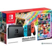 Игровая приставка Nintendo Switch + Mario Kart 8 Deluxe (красный/синий)