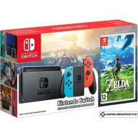 Игровая приставка Nintendo Switch + The Legend of Zelda: Breath of the Wild (красный/синий)
