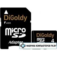 Карта памяти DiGoldy microSDHC (Class 10) 4GB + адаптер [DG004GCSDHC10-AD]