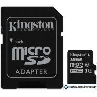 Карта памяти Kingston microSDHC UHS-I (Class 10) 16GB + адаптер [SDCS2/16GB]